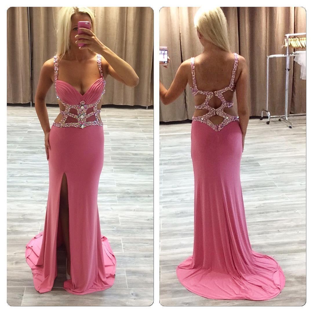 Pd charming prom dressbeading prom dressbackless prom dress