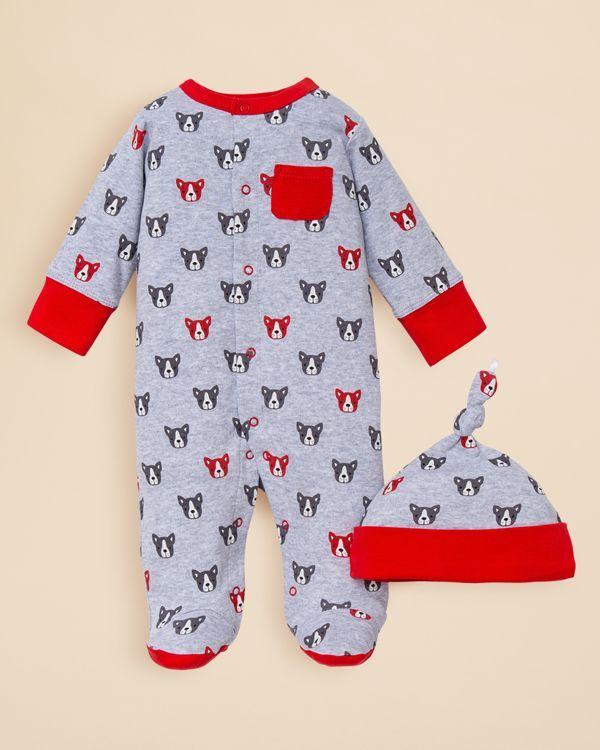 Offspring Infant Boys' Dog Print Heather Footie & Hat Set - Sizes Newborn-9 Months