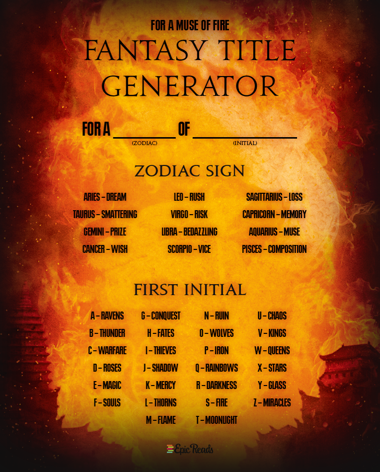 Write Your Own Bestseller With This 'Fire' Fantasy Title Generator