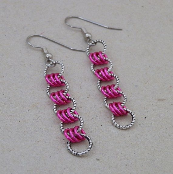 3 in 1 Neon Pink and Silver Chainmaille Earrings $19.50
