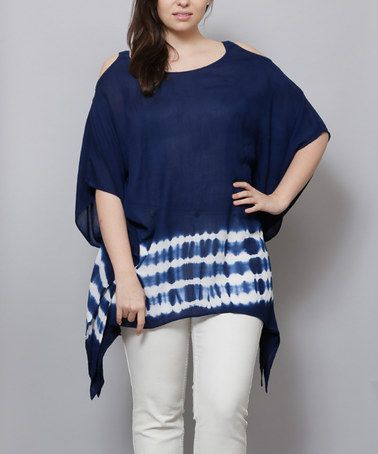 b05a7524951 Love this Navy Tie-Dye Ripple Cutout Tunic - Plus on  zulily ...