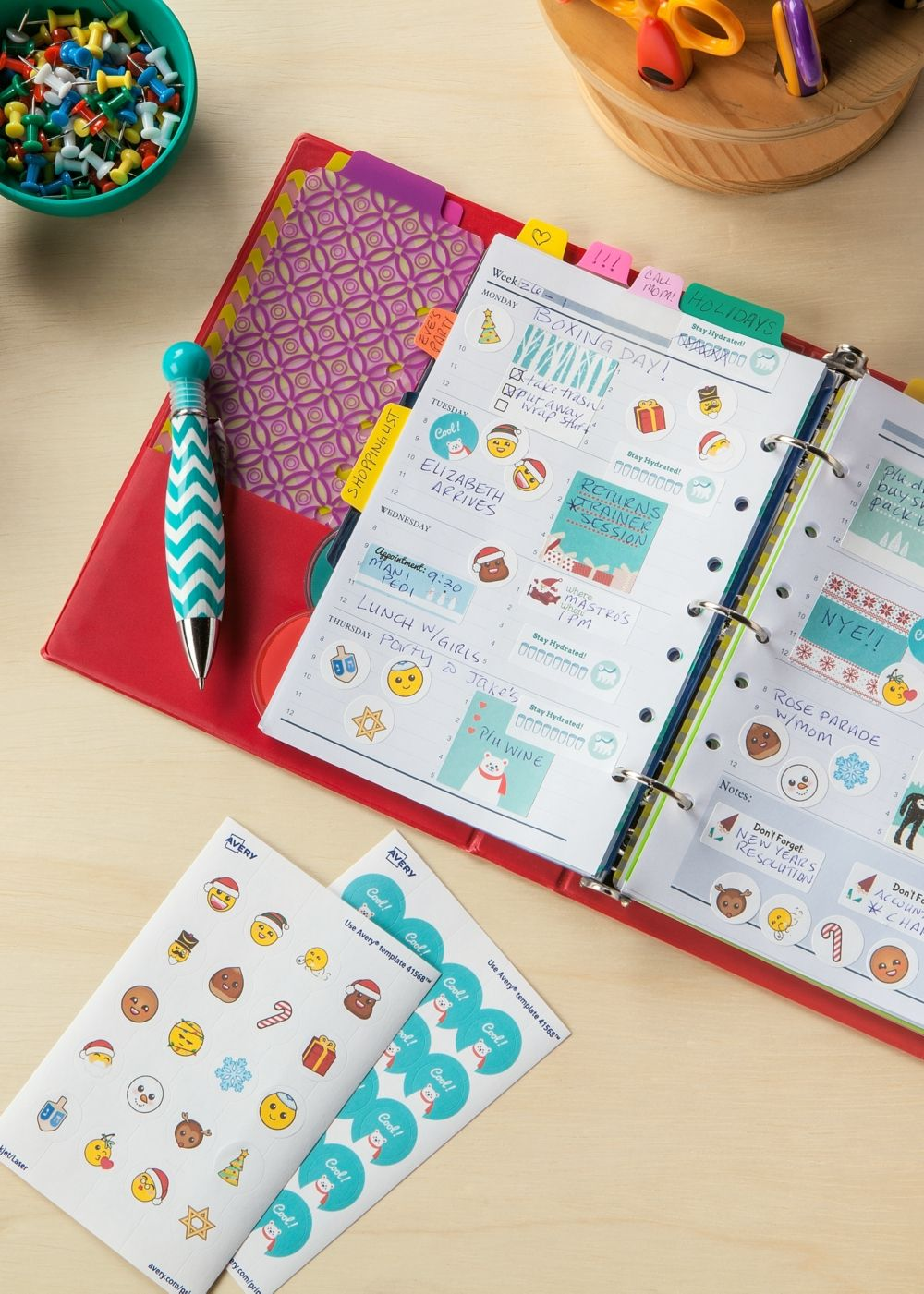Make your own fun holiday planner stickers using the free