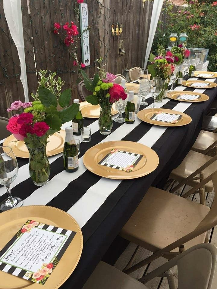 Kate Spade Inspired Party Decor Black And White Stripes Gold