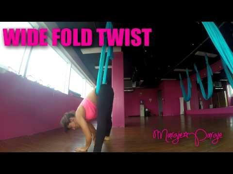 wide fold twist aerial yoga tutorial with margie pargie