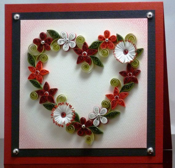 Tutorial quilled floral heart wreath pattern heart for Quilling heart designs
