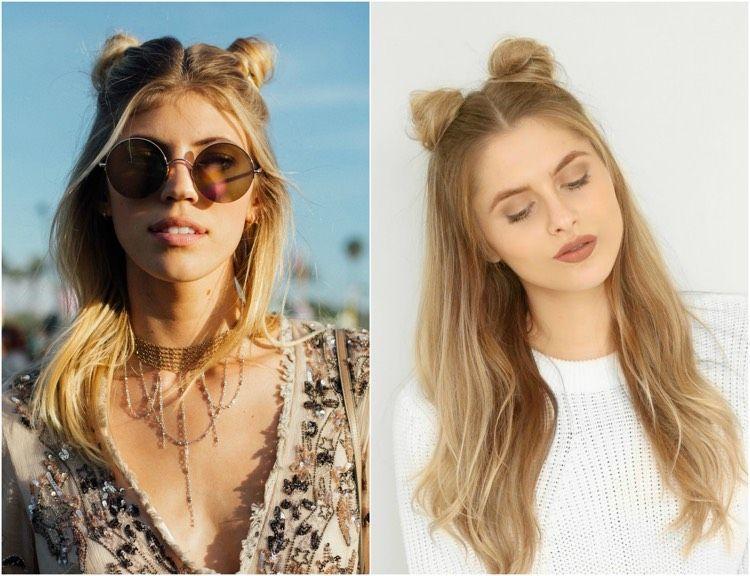 Sommer Frisuren Zwei Kleine Dutts Halb Offen Mama Frisur