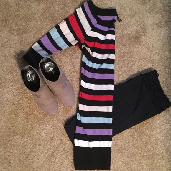 H&M tunic sweater Color striped lightweight sweater tunic. Sleeves come down to elbows. Excellent condition! H&M Tops Tunics