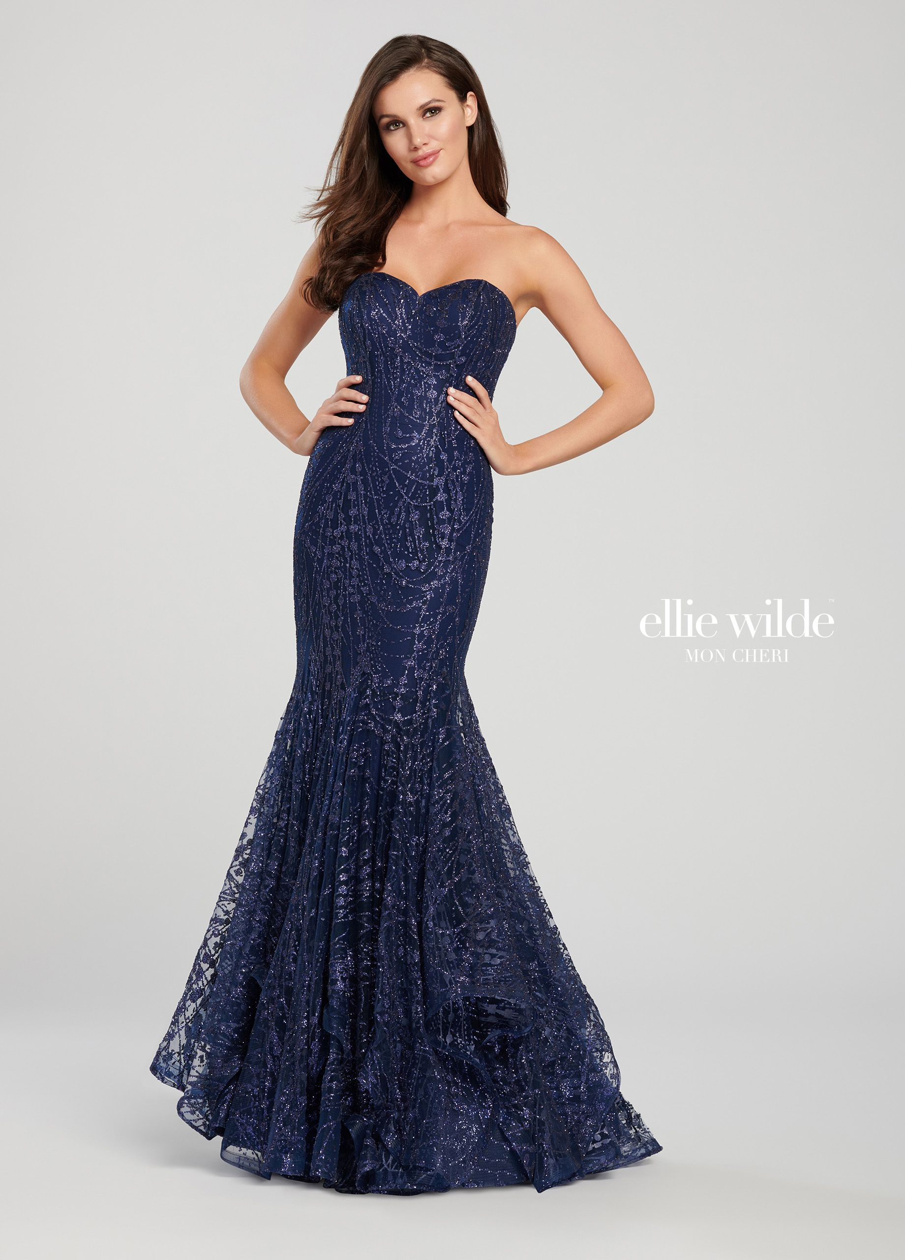 84b1e4af9b9 Ellie Wilde EW118068 - Strapless crack ice tulle trumpet dress with  sweetheart neckline. The glitter of the crack ice tulle flows down the  length of the ...