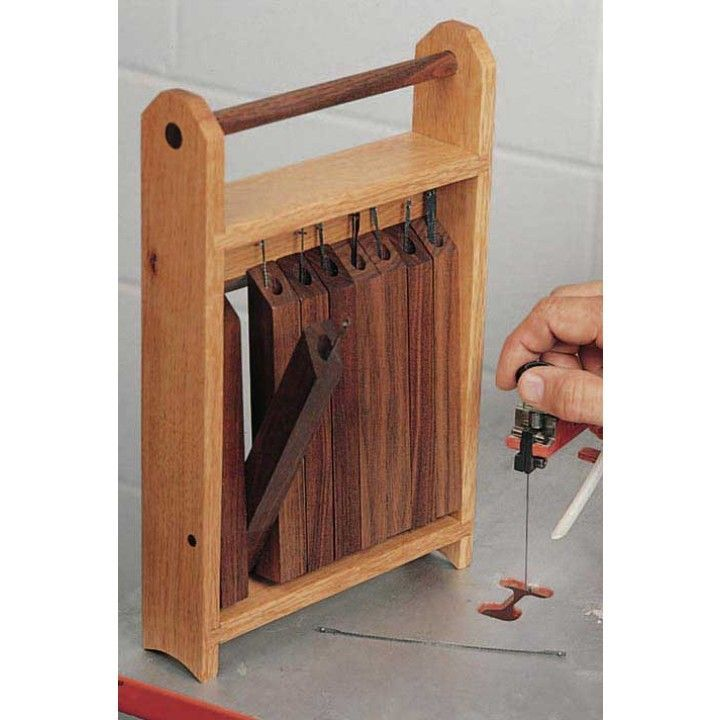 Diy scroll saw blade caddy downloadable plan from woodworkers put an end to bent or disorganized scroll saw blades when you build this simple storage caddy nine storage fingers tip out to hold various blade types keyboard keysfo Image collections