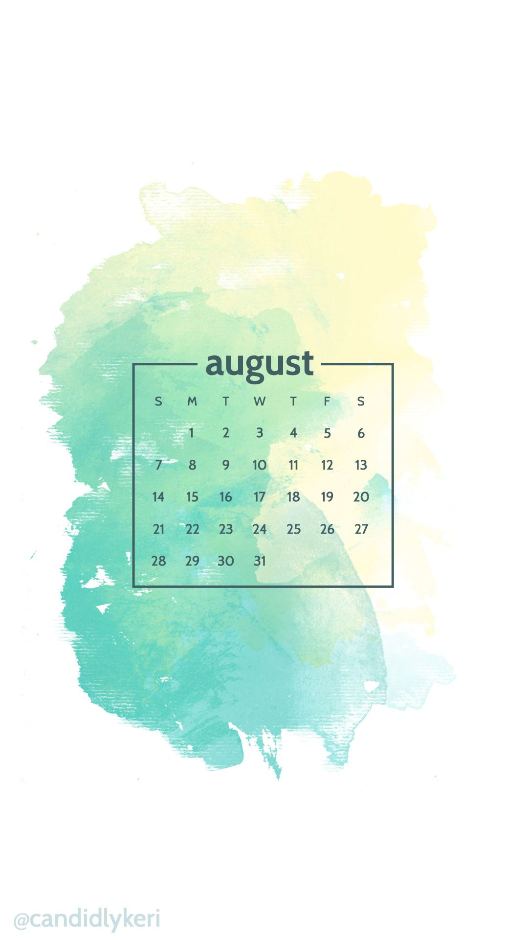 Yellow Green Blue Watercolor Background August Calendar 2016 Wallpaper You Can Download For Fre Calendar Wallpaper Watercolor Wallpaper Phone August Wallpaper