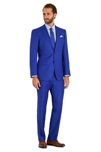 Moss 1851 Italian Cloth Tailored Fit Bright Blue Suit  302ba82c21c