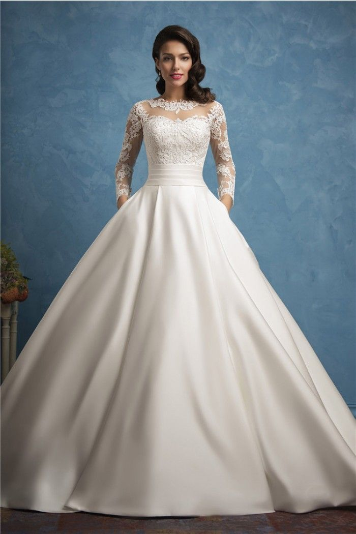d3786daea685f Roayl Ball Gown Illusion Neckline Long Sleeve Lace Satin Wedding Dress With  Pockets