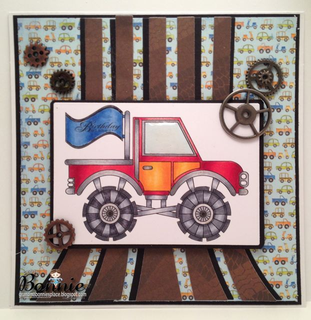 Monster Truck and Birthday Wishes sentiment www.digitaldelightsbyloubyloo.com