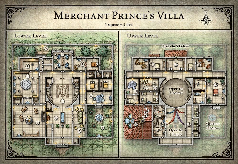 Merchant prince villa gm maps and adventure paths for Premade floor plans
