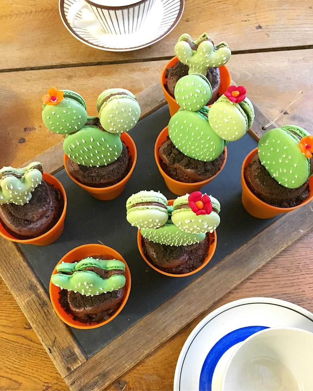 Cactus cupcakes macarons Picture by @sanna_hederstedt