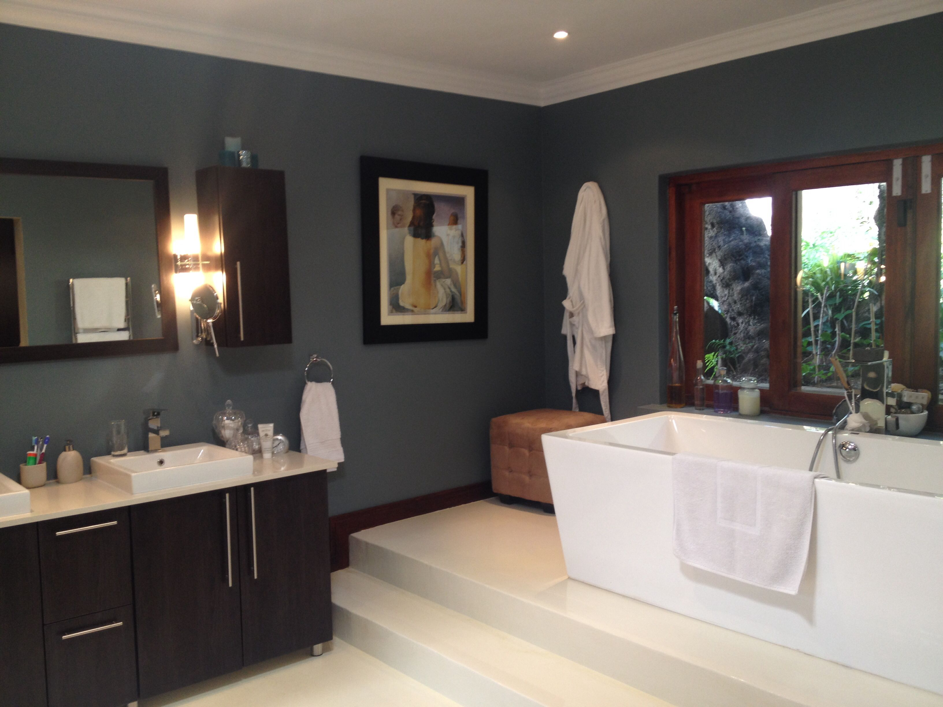 Our New blue Steel Bathroom Walls Using Plascon Double Velvet In Silver Charm My Home