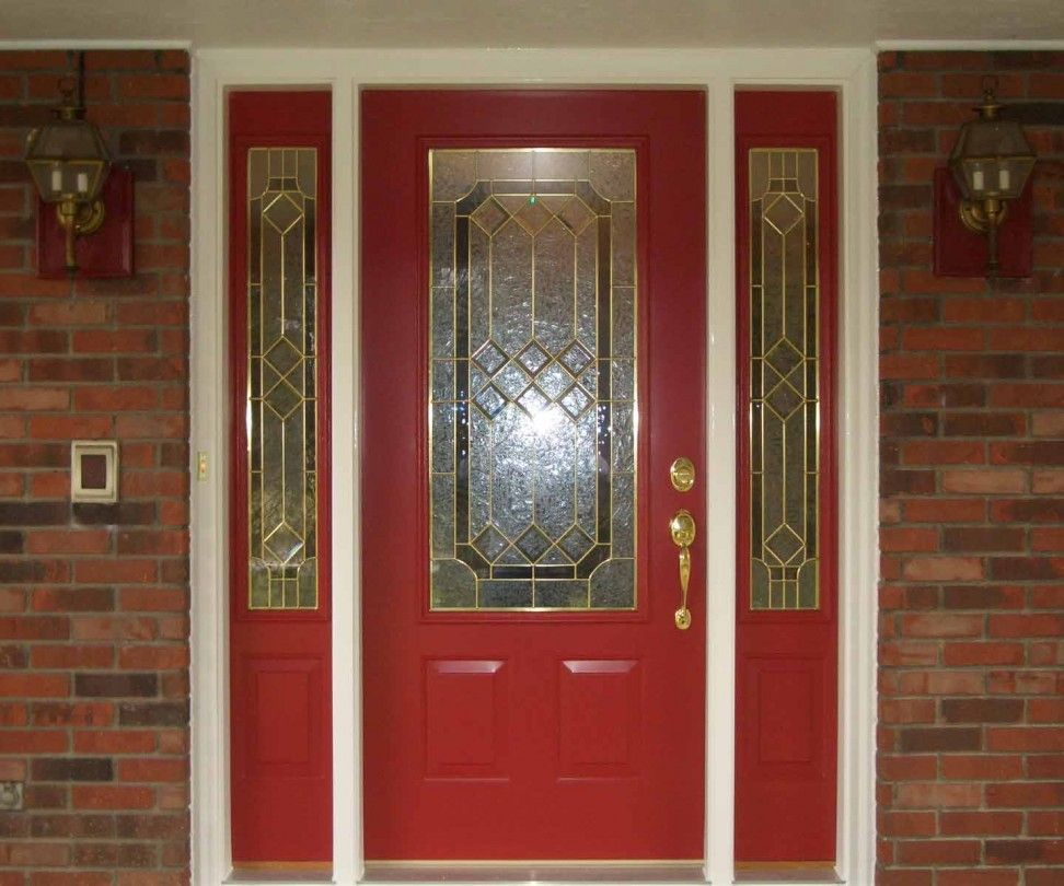 Astonishing Red Door Design Idea With Trellis Stained