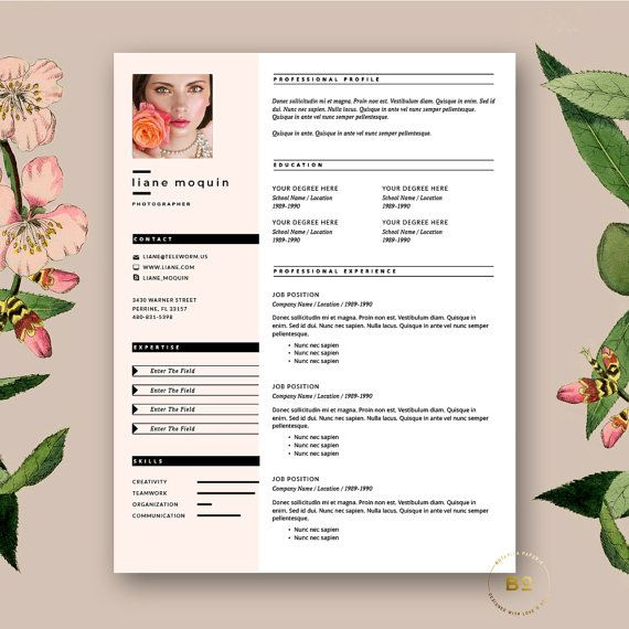 modern cv with free cover letter for ms word feminine resume by botanicapaperieshop blush pink and fashion feel - Word Templates For Resumes