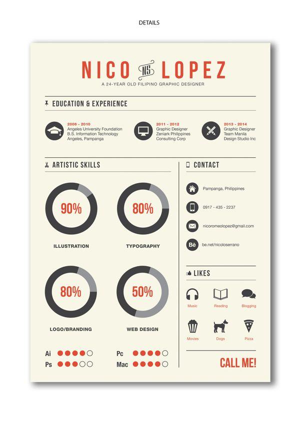 Creative Curriculum Vitae by Nico Lopez, via Behance 포트폴리오