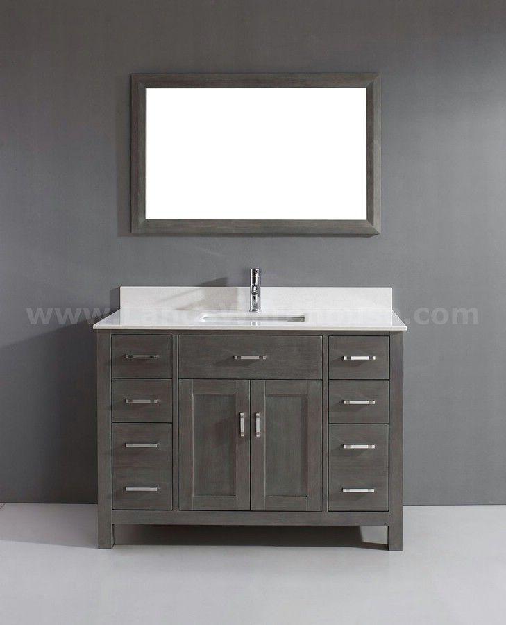 Kaleeze French Gray 47 Modern Single Sink Bathroom Vanity Traditional Bathroom Vanity Wooden Bathroom Vanity Single Sink Bathroom Vanity