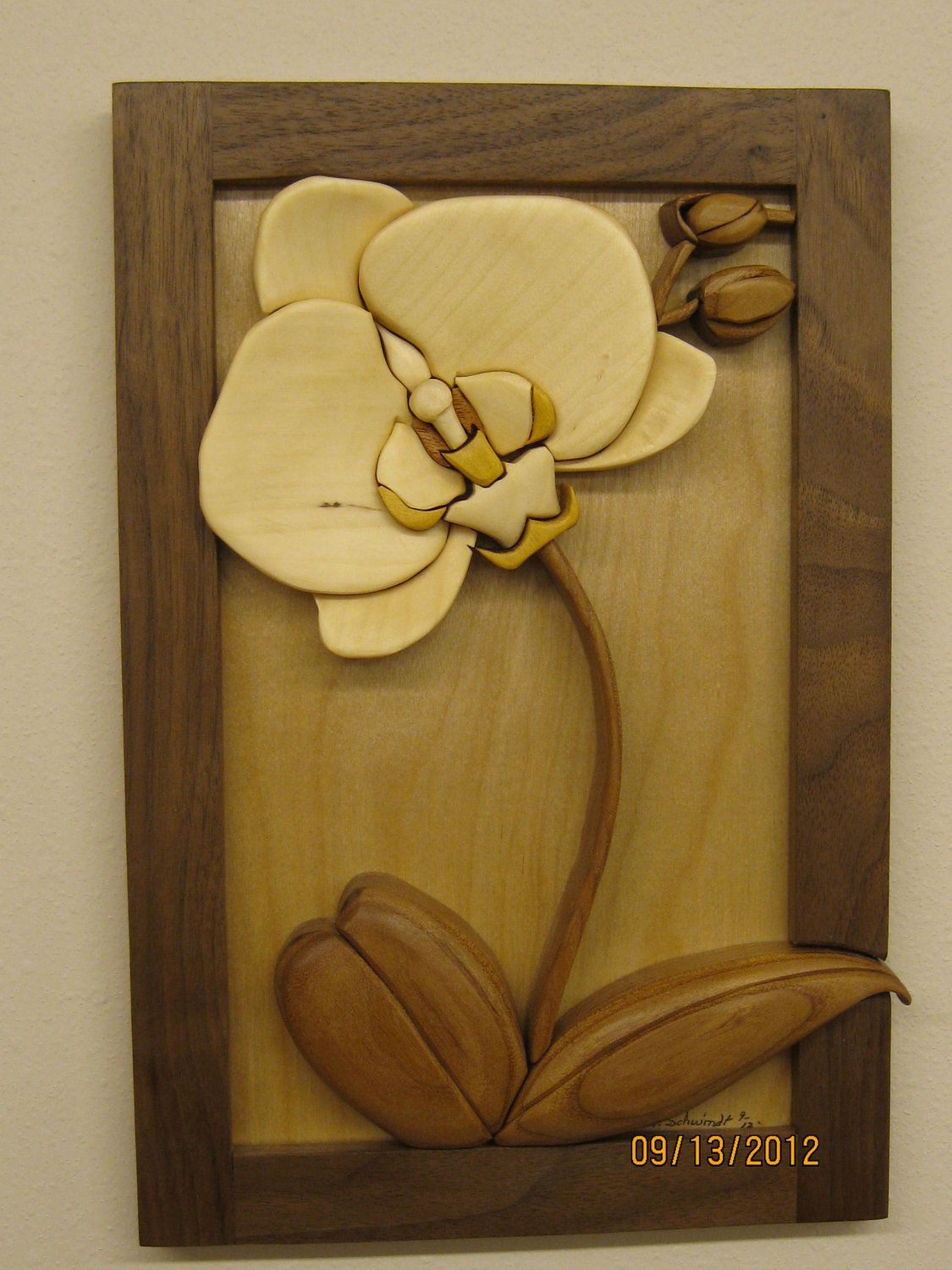 ORCHID FLOWERintarsia carved by RAKOWOODS wall decor by RAKOWOODS ...