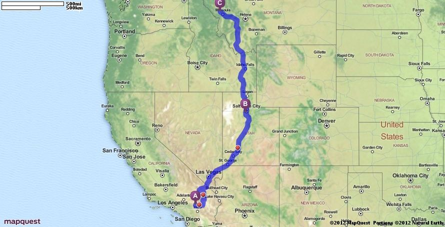 Driving Directions From Yucca Valley California To - Mapquest california