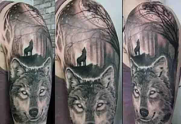 90 moon tattoos for men ship of light on the sea of night tattoos pinterest tattoo wolf. Black Bedroom Furniture Sets. Home Design Ideas