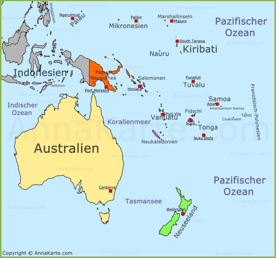 Australien Und Die Inseln Sind Ozeanien Geografie Karten Landkarte