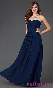 Buy Floor Length Strapless Sweetheart Chiffon Dress at PromGirl | Navy and  Aqua blues | $129