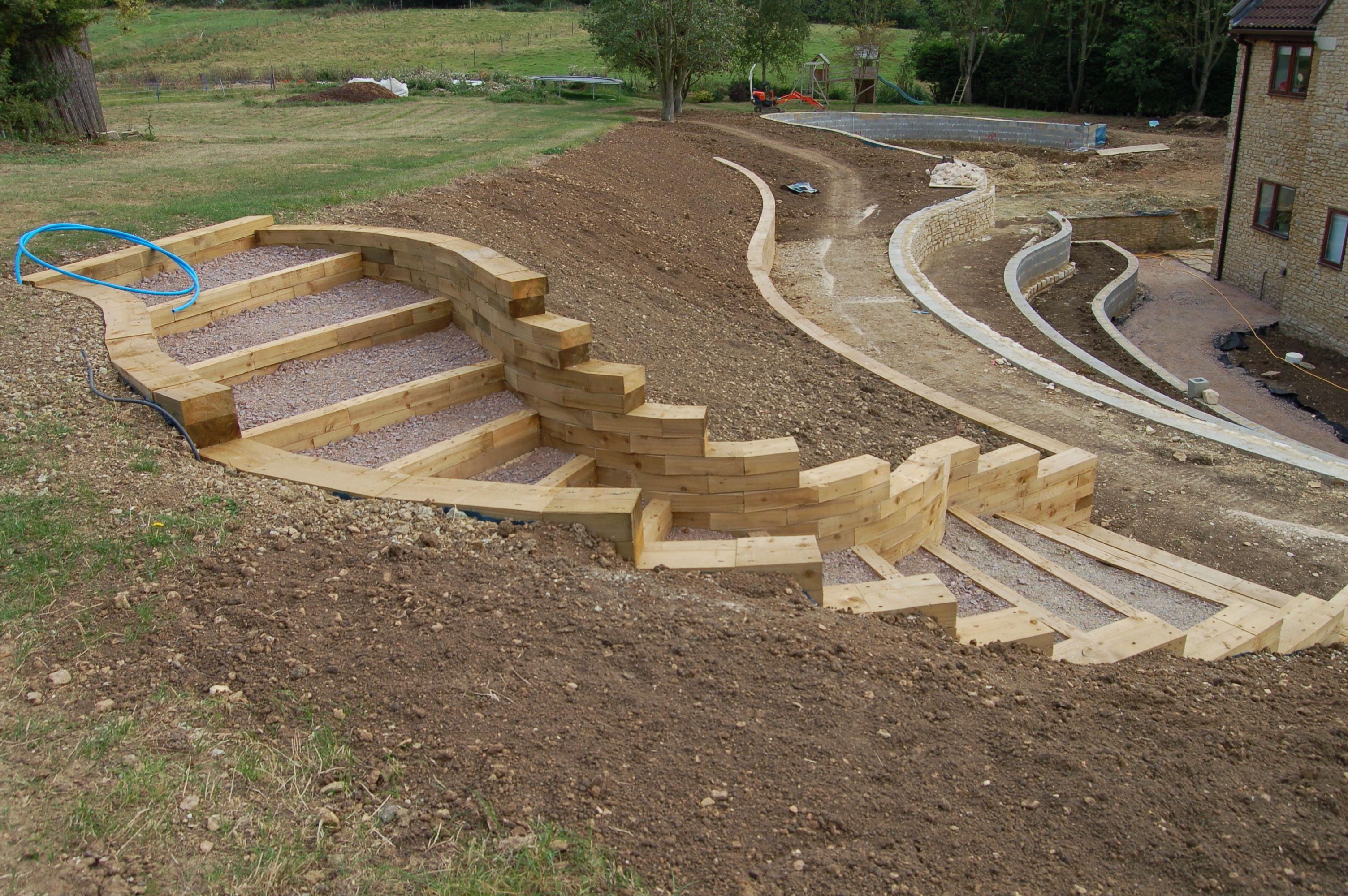 Tips To Build Terraced Retaining Wall Ideas Barn Wood Mason Jar Sloped Backyard Landscaping Retaining Walls Garden Stairs