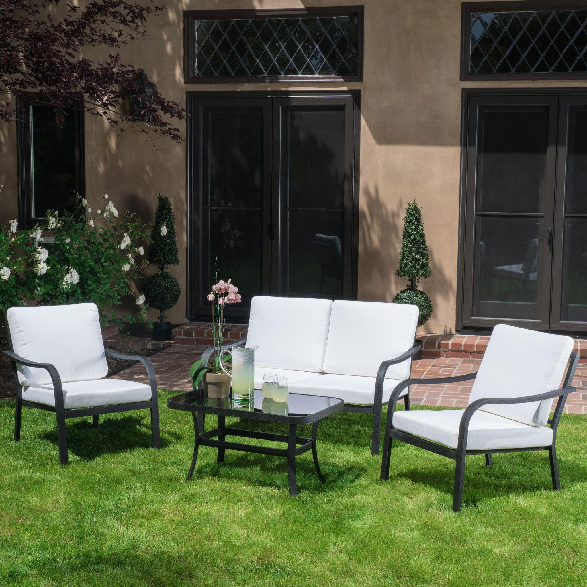 Langston Outdoor 4pc Grey & Ivory Seating Set   Outdoor ...