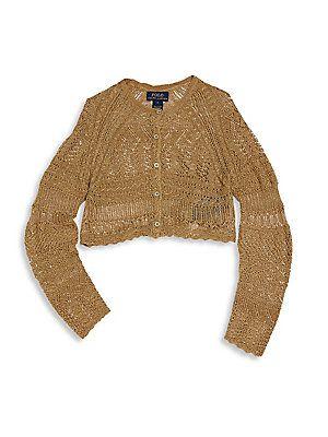 Ralph Lauren Little Girl's Cropped Pointelle Knit Cardigan - Gold ...