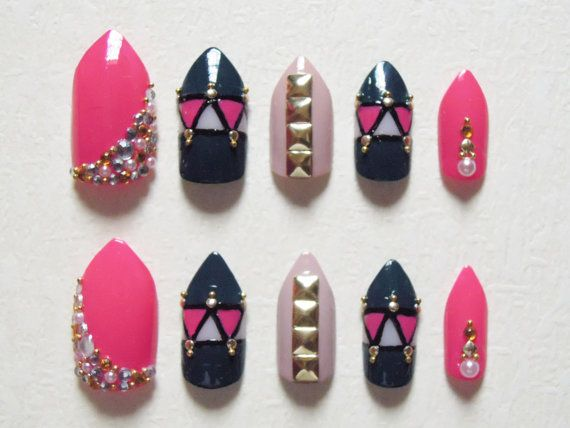 Hey, I found this really awesome Etsy listing at http://www.etsy.com/listing/130840040/pink-dark-teal-and-nude-stiletto-fake