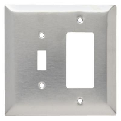 Legrand Pass Seymour 302 304 S S 2 Gang 1 Toggle 1 Decorator Rocker Oversized Wall Plate Stainless Steel 1 Pack Sso126 The Home Depot In 2020 Plates On Wall Stainless Steel Plate Stainless Steel Screws