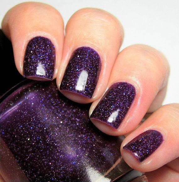 Matte Black Glitter Nail Polish: Descendants Style Series: Mal Outfit