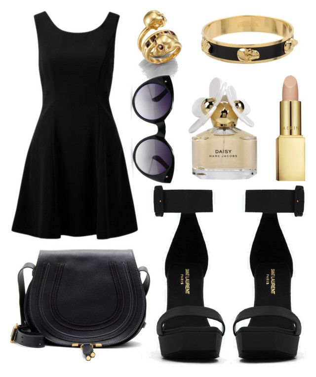 """Gold"" by shashaj ❤ liked on Polyvore featuring Forever New, Yves Saint Laurent, Chloé, Alexander McQueen, AERIN and Marc Jacobs"
