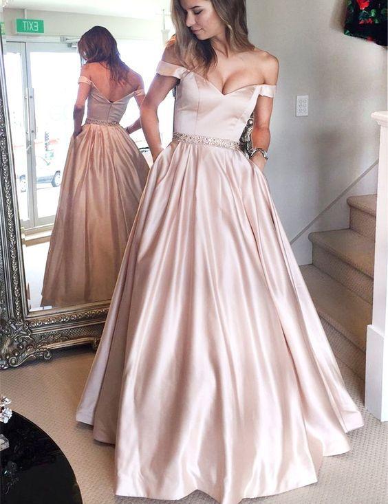 8f9b6181c3bc4f A-Linie Rosa Off die Schulter Bodenlang Ballkleid mit Strasssteinen und  Taschen Abendkleider Abendkleid 2017