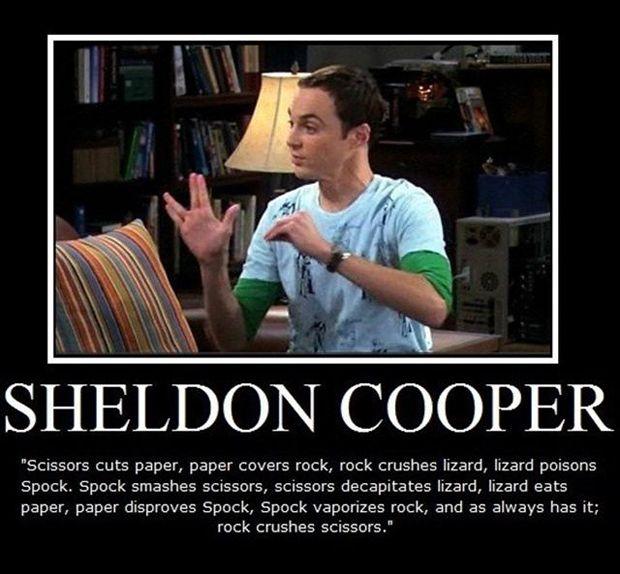 Sheldon cooper rock paper scissors