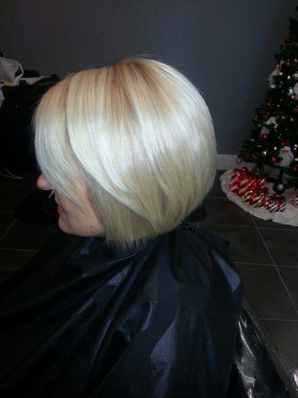 Blonde inverted bob