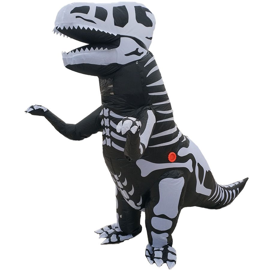 Child Deluxe T-Rex Dinosaur Skeleton Costume Halloween  Boys Fancy Dress Outfit