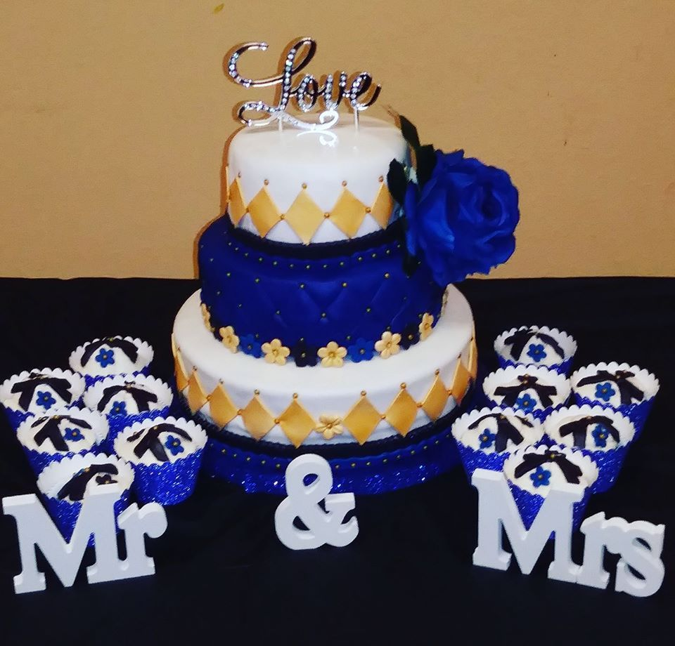 Wedding Cake Royal Blue Black And Gold Order Birthday Los Angeles Christmas