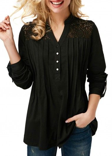 8046810f7 Lace Panel Roll Tab Sleeve Pleated Black Blouse | modlily.com - USD $30.58