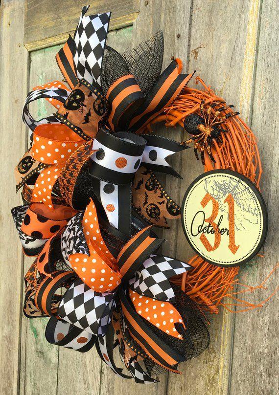 Halloween Grapevine Wreath Spider Wreath Halloween Wreath