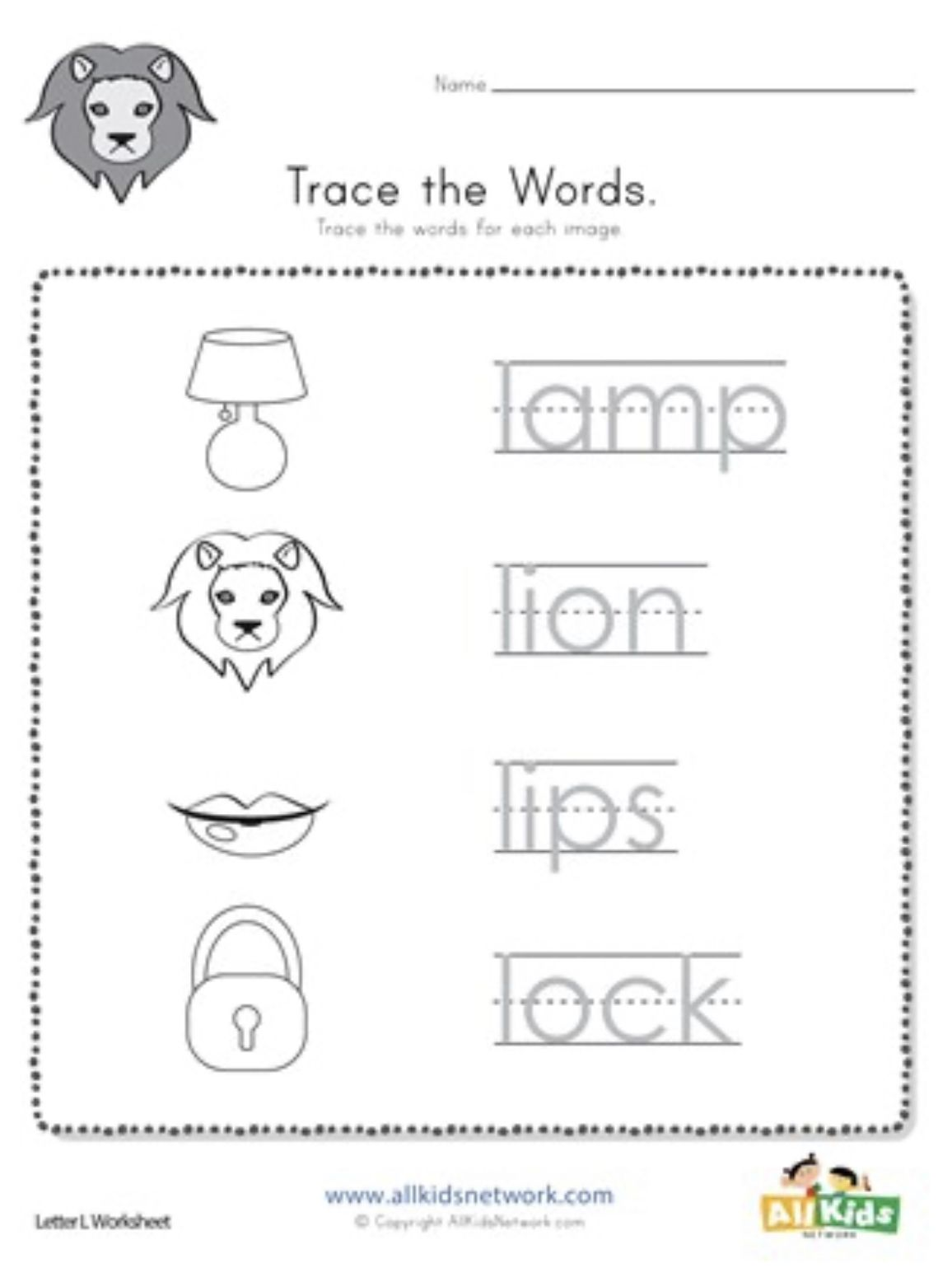 Letter L Kindergarten Worksheets In