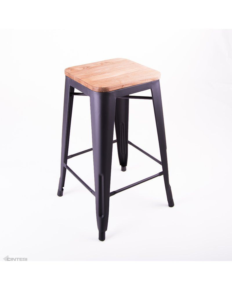 tolix replica barstool matt black finish with timber seat large