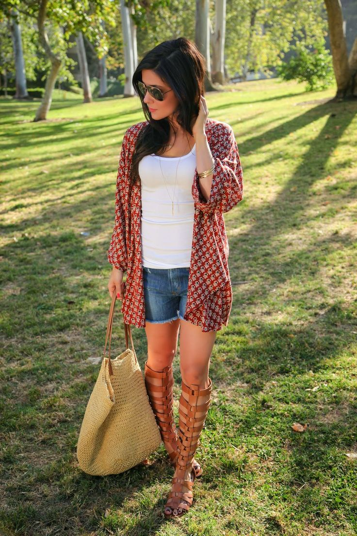 Cute and causal outfit with tall gladiator sandals.
