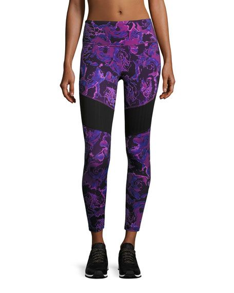 THE NORTH FACE Motivation Mesh Performance Leggings, Wood Violet Roses Print, Purple Pattern. #thenorthface #cloth #