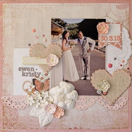 Sue Tonga - Pink Paislee and Prima papers and embellishments