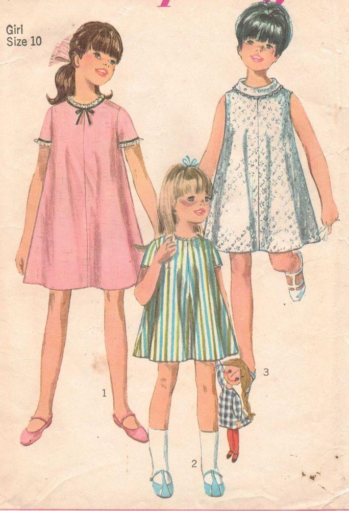 Vintage 1967 Simplicity 7038 Girls ONE PIECE TENT DRESS Sew Pattern ...