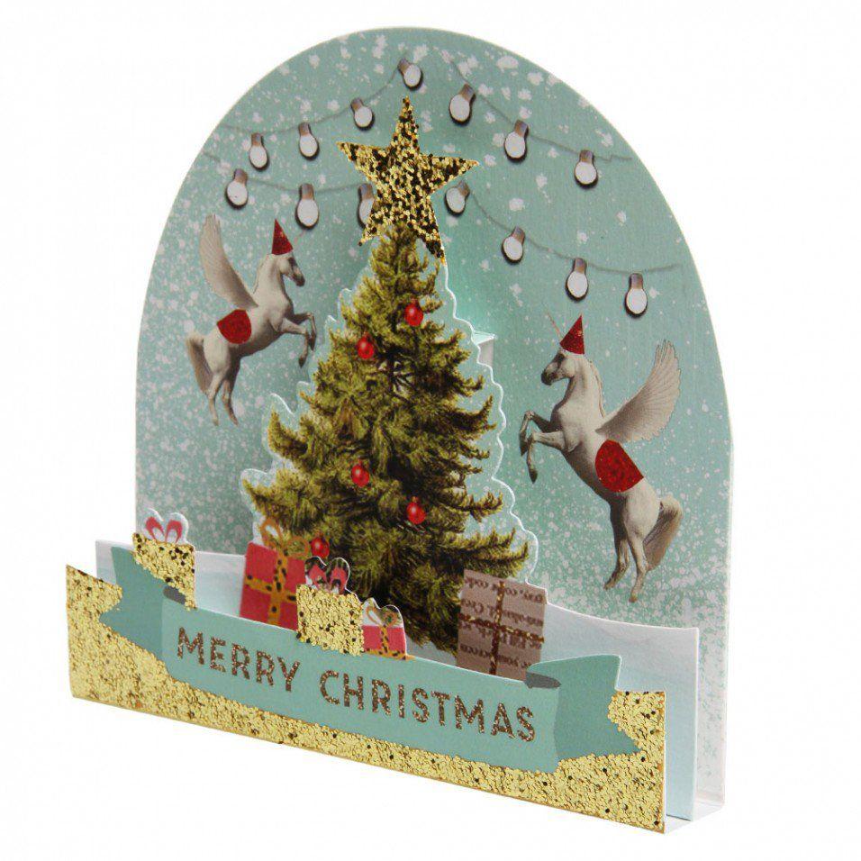 christmas tree with unicorns christmas card  christmas